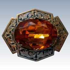 Vintage Foil Backed Burnt Orange Rhinestone Brooch