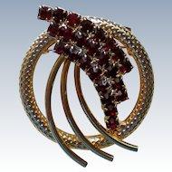 Ruby Red Rhinestone Circle Pin
