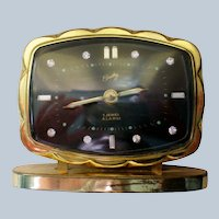 Bradley German Alarm Clock with Rhinestone Numerals