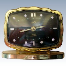Bradley German Alarm Clock with Rhinestone Numerals