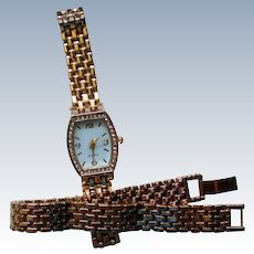 Matching Bracelet and Crystal Accented Watch