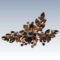Aurora Borealis Amber Flower Brooch