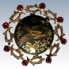 Damascene Bird Brooch with Red Rhinestone Frame