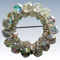 Aurora Borealis Crystal Circle Brooch