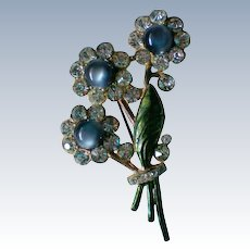 Moon Stone Pot Metal Rhinestone Flower Bouquet Brooch