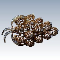 Filigree Leaf Brooch with Seed Pearls and Rhinestones