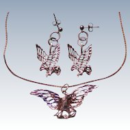 Sterling Silver Eagle Pendant Necklace with Pierced Earrings