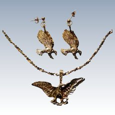 Gold Plated Sterling Eagle Pendant & Pierced Earrings