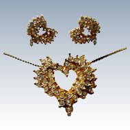 Crystal Rhinestone Heart Pendant & Pierced Earrings
