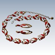 Trifari Red Enamel Necklace & Pierced Earrings