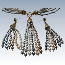Multi Colored Faux Pearl Necklace & Earrings