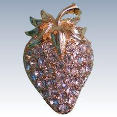 Glittering Rhinestone Strawberry Pin