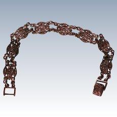 Art Deco Sterling Silver Marcasite Link Bracelet