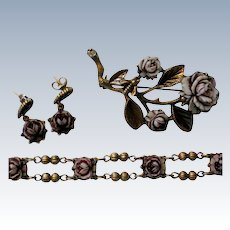Cellulose Rose Pin, Earrings, and Matching Bracelet