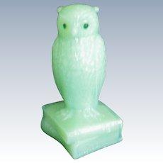 Degenhart Opaque Green Owl Figure / Figurine