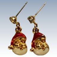 Miniature Santa Pierced Earrings for Christmas / Holidays