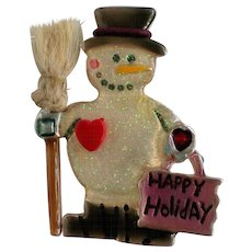 Happy Holiday Snowman with Broom Pin