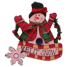 Wooden Snowman Pin for Winter Holidays