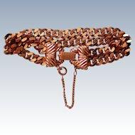 Gold tone Double Chain Link Bracelet
