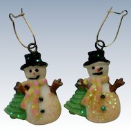 Ceramic Snowman Pierced Earrings for Holidays