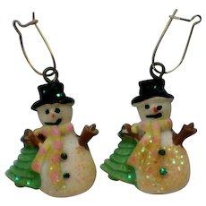 Ceramic Snowman Pierced Earrings for Holidays