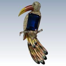 Corocraft Pegasus Adolph Katz Sterling Enamel Toucan Bird Brooch
