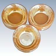 Fire King Peach Lustre Laurel Pattern Dessert / Berry Bowls