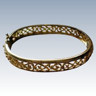 Avon Gold tone Filigree Hinged Bracelet
