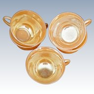 Laurel Pattern Peach Luster Fire King Cup by Anchor Hocking