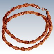 Thick Twisted Gold tone Rope Necklace