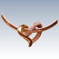 Floating Heart Slider Necklace Signed NR