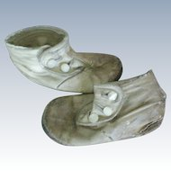 Button Top Leather Baby Shoes