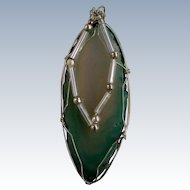Wire Wrapped Variegated Sea Foam Agate Stone Pendant