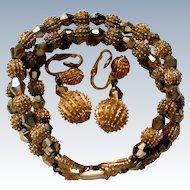 Crown Trifari Bracelet & Dangle Clip Earrings
