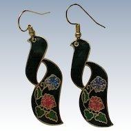 Freeform Metal Pierced Earrings with Flowers