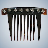 Small Celluloid Comb with Rhinestone Accents
