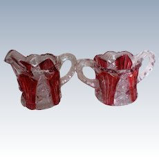 Ruby Flashed Glass Creamer and Sugar