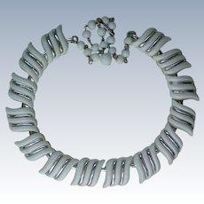 Signed Coro White Lucite Necklace
