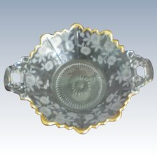 Small Floral Gold Rimmed Nut or Candy Dish with 2 Handles