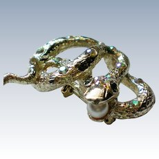Jeweled Snake Pin with a Faux Pearl in Mouth