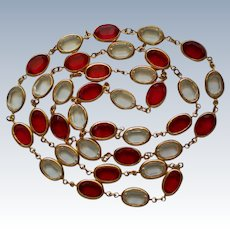 Caged Crystal Glass Red and Clear Necklace