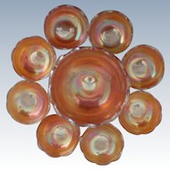 Carnival Crackle or Soda Gold Glass Berry Bowl Set