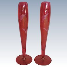 Pair of Cranberry Etched Glass Bud Vases