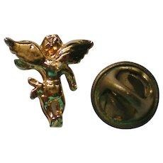 Tiny Gold tone Angel Tie Tack or Lapel Pin