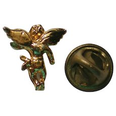 Tiny Gold tone Angel Tie Tack or Lapel Pin