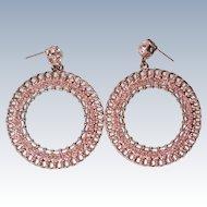 HUGE Graziano Rhinestone Hoop Earrings