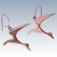Free Form Pewter Bird Earrings