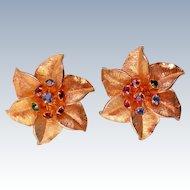 Judy Lee Gold tone Star Flower Clip Earrings