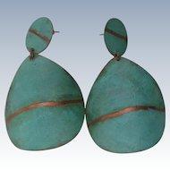 Modernist Metal Disc Dangle Earrings