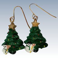 Christmas Tree Snowman Earrings for the Holidays / Christmas